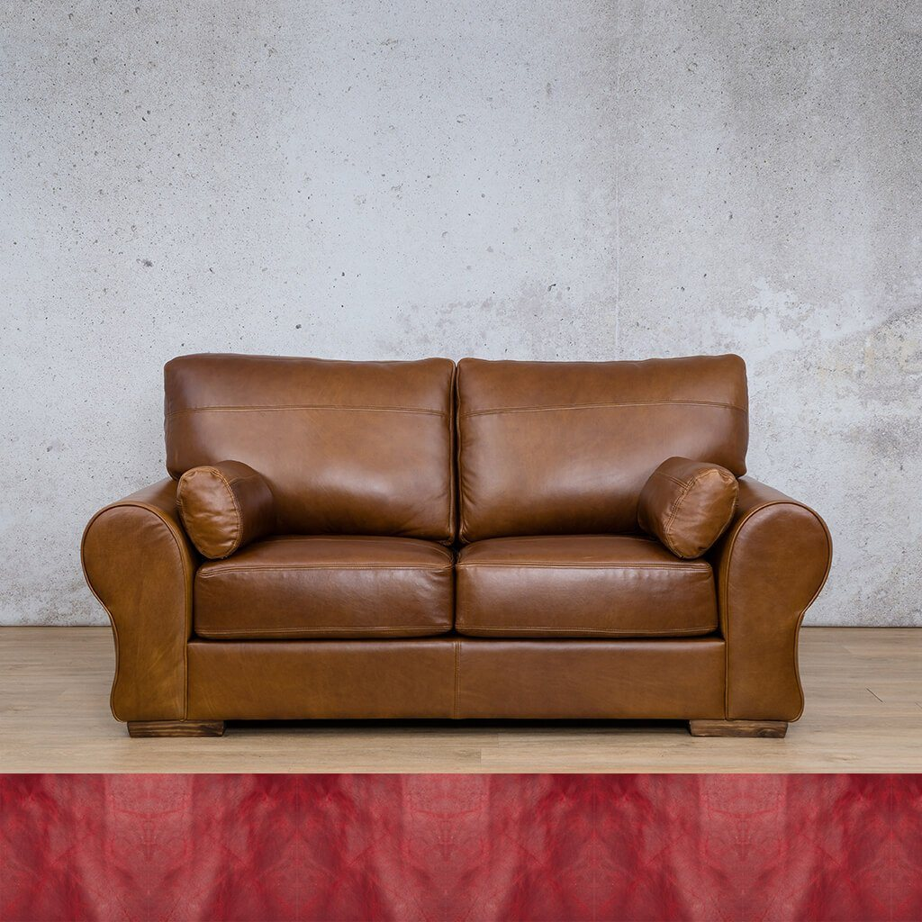 Carolina Leather Couch | 2 Seater | Royal Ruby | Leather Gallery