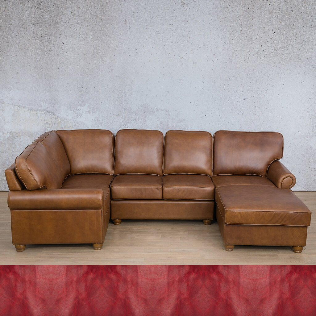 Salisbury Leather Corner Couch | U-Sofa Chaise Sectional RHF | Royal Ruby | Couches For Sale | Leather Gallery Couches