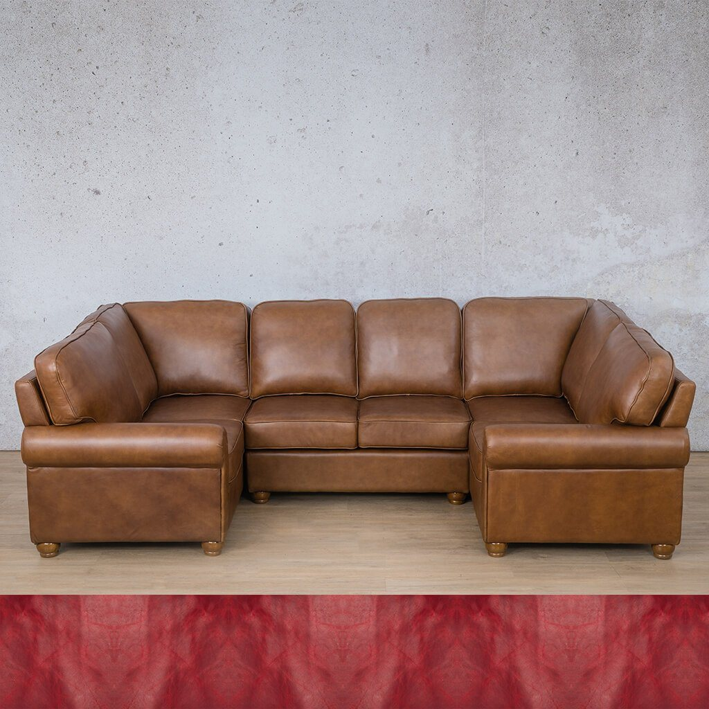 Salisbury Leather Corner Couch | U-Sofa Sectional | Royal Ruby | Couches For Sale | Leather Gallery Couches