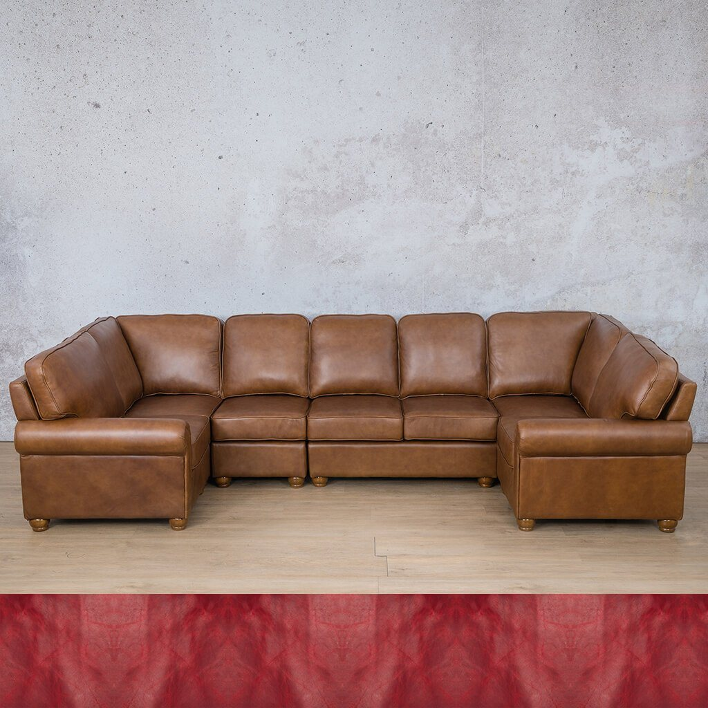 Salisbury Leather Corner Couch | Modular U-Sofa Sectional | Royal Ruby | Couches For Sale | Leather Gallery Couches