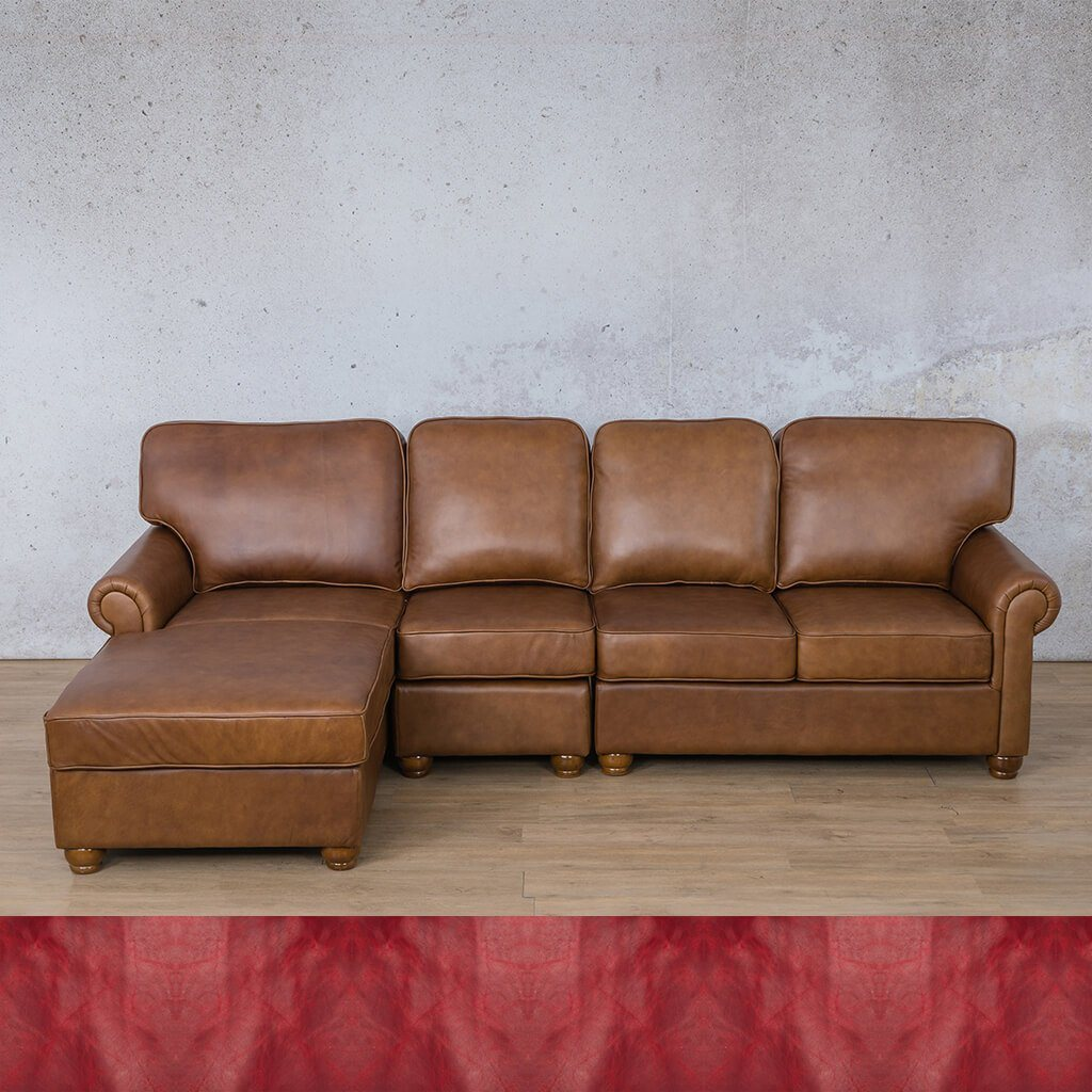 Salisbury Leather Corner Couch | Chaise Modular Sectional-LHF | Royal Ruby | Couches For Sale | Leather Gallery Couches