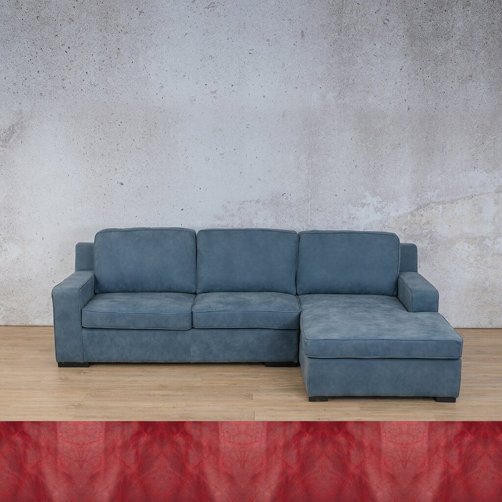 Arizona Leather Couch | Sofa Chaise RHF | Royal Ruby | Leather Gallery