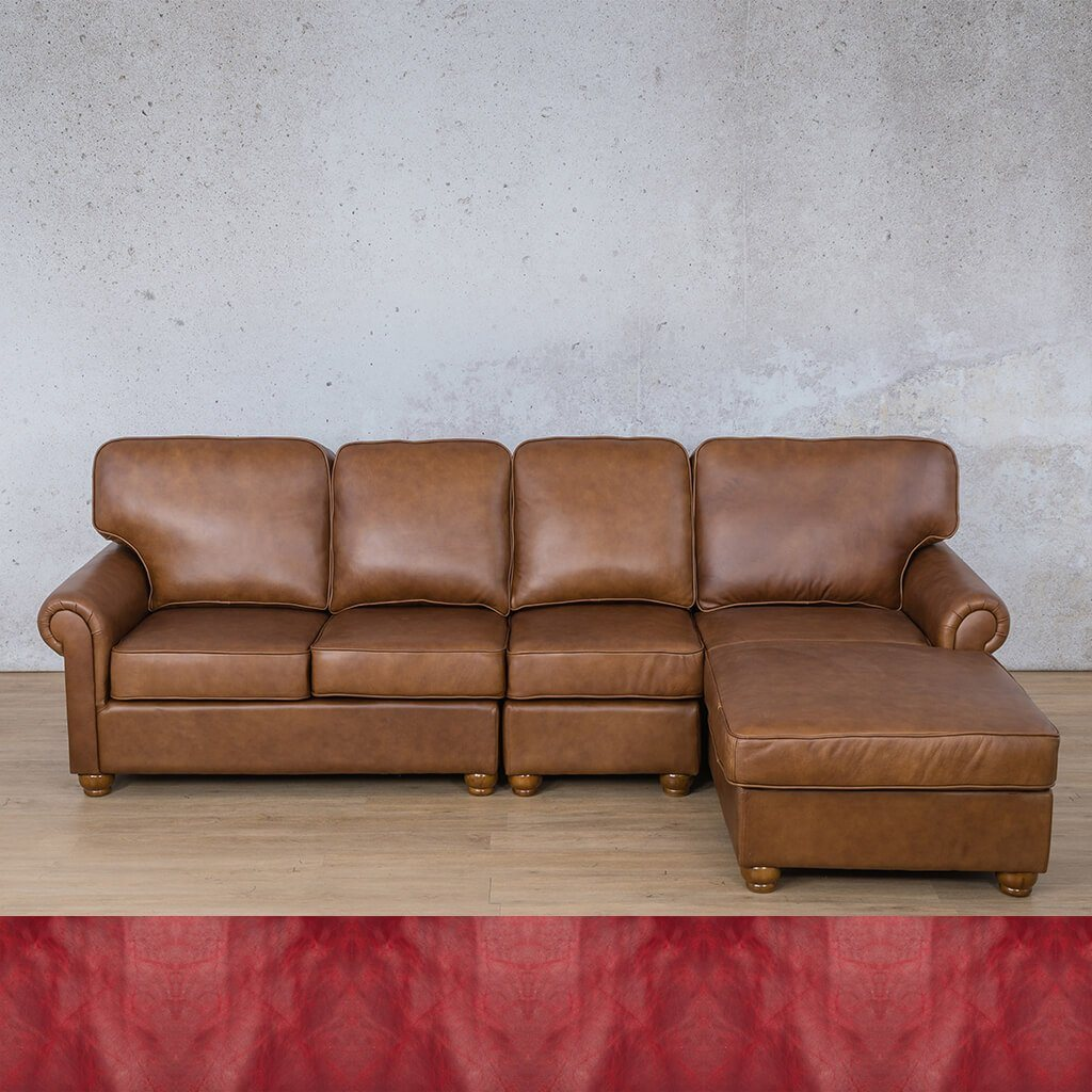 Salisbury Leather Corner Couch | Chaise Modular Sectional-RHF | Royal Ruby | Couches For Sale | Leather Gallery Couches