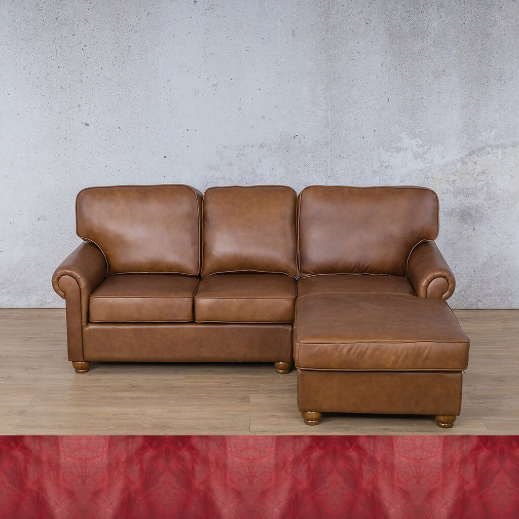 Salisbury Leather Corner Couch | Chaise Sectional-RHF | Royal Ruby | Couches For Sale | Leather Gallery Couches
