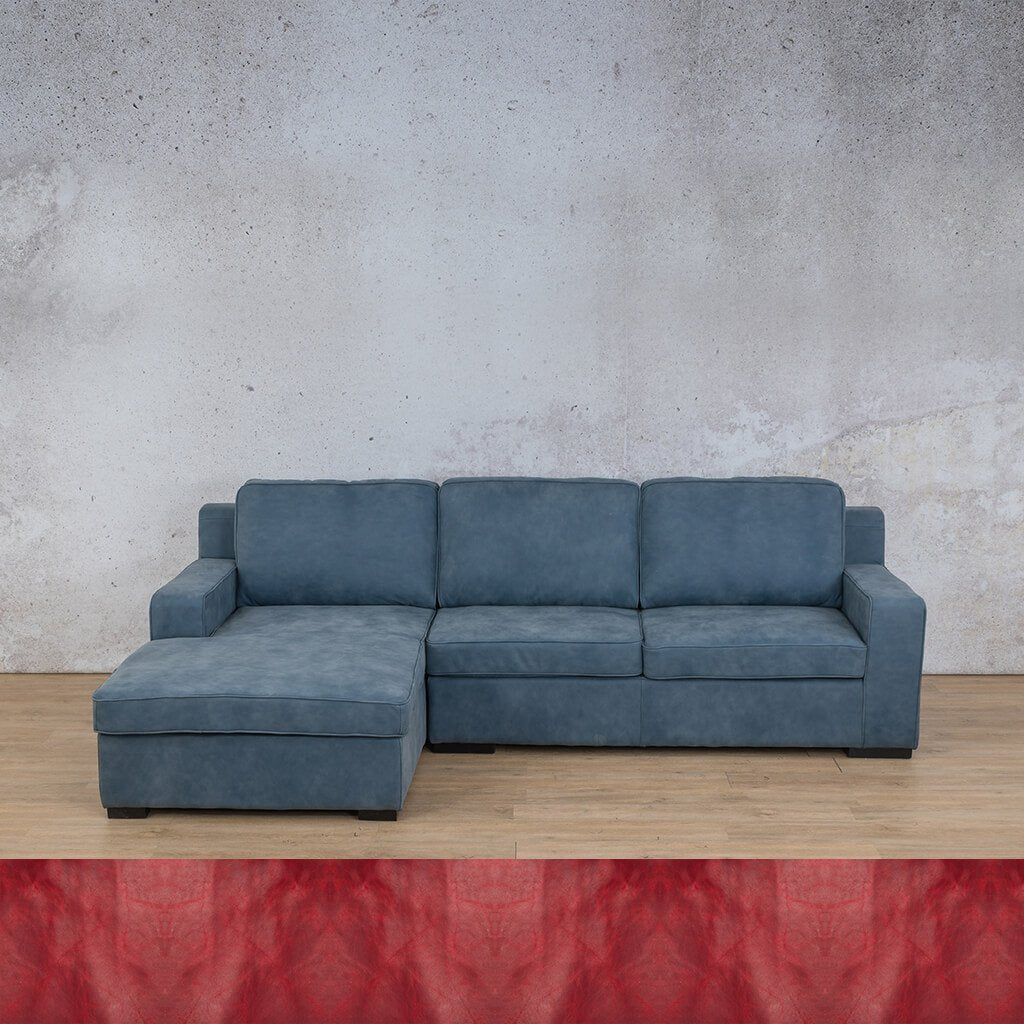 Arizona Leather Couch | Sofa Chaise LHF | Royal Ruby | Leather Gallery