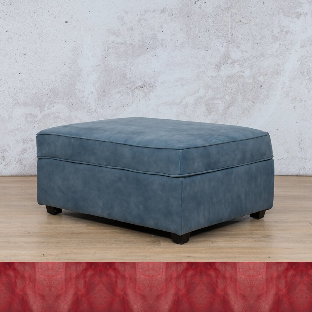 Arizona Leather Couch | Ottoman | Royal Ruby | Leather Gallery