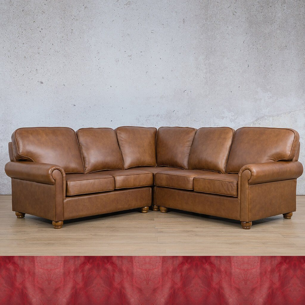 Salisbury Leather Corner Couch | L-Sectional 5 Seater | Royal Ruby | Couches For Sale | Leather Gallery Couches