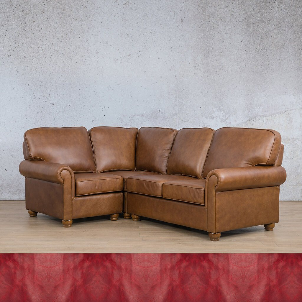 Salisbury Leather Corner Couch | L-Sectional 4 Seater-LHF | Royal Ruby | Couches For Sale | Leather Gallery Couches