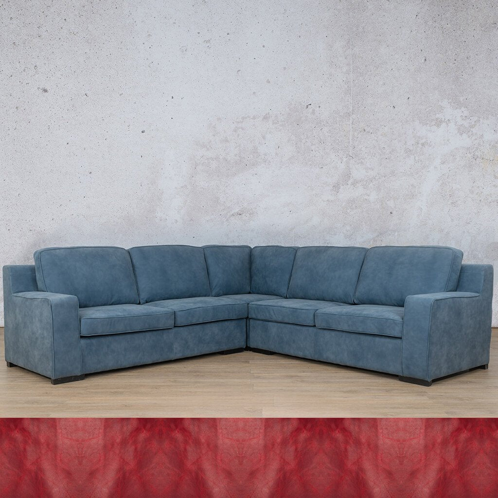 Arizona Leather Couch | L-Sectional 5 Seater | Royal Ruby | Leather Gallery