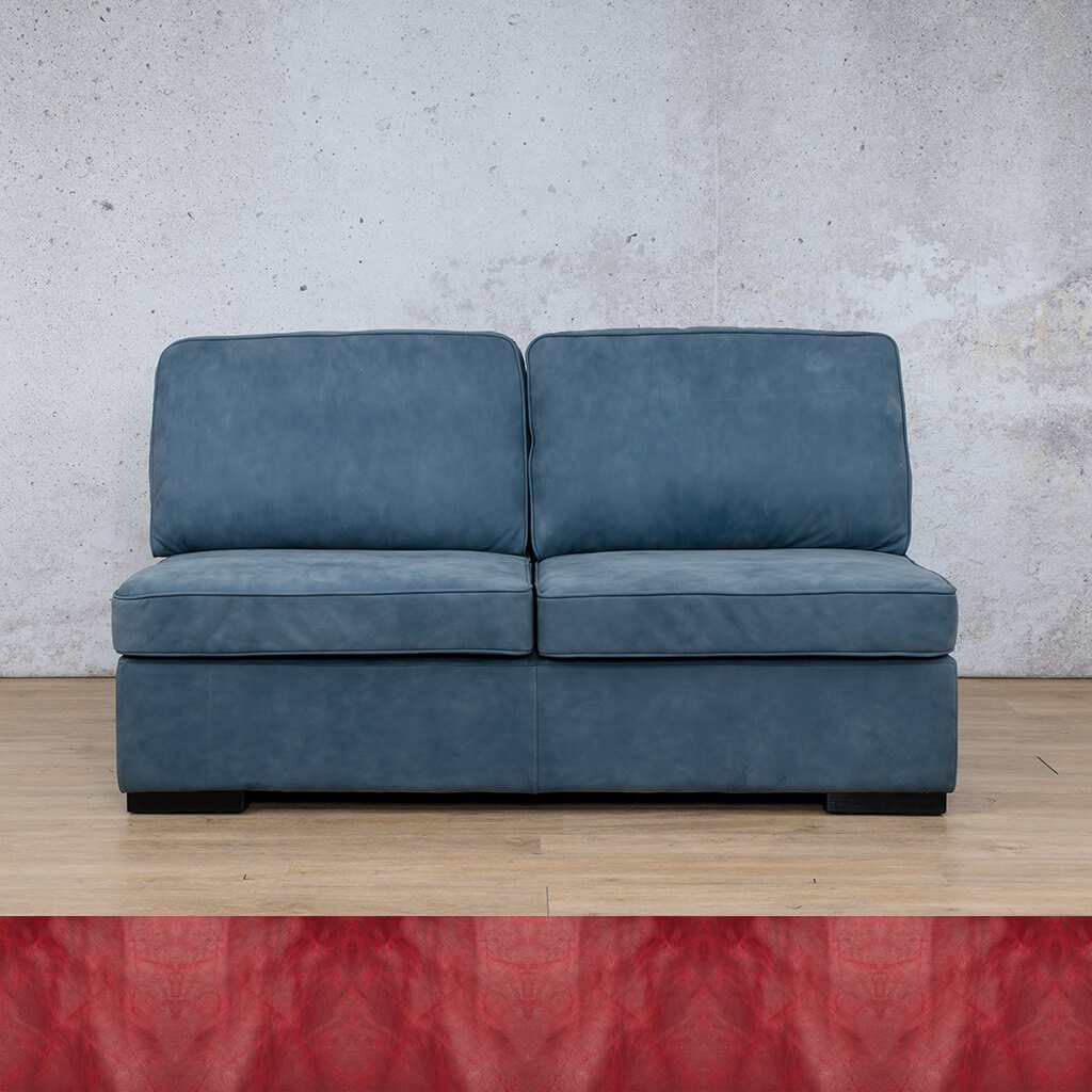 Arizona Leather Couch | Armless 2 Seater | Royal Ruby | Leather Gallery