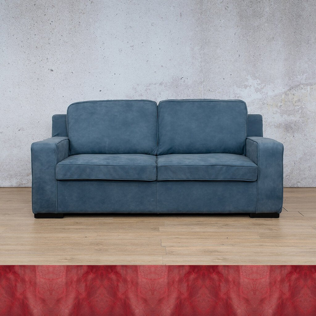 Arizona Leather Couch | 3 Seater | Royal Ruby | Leather Gallery