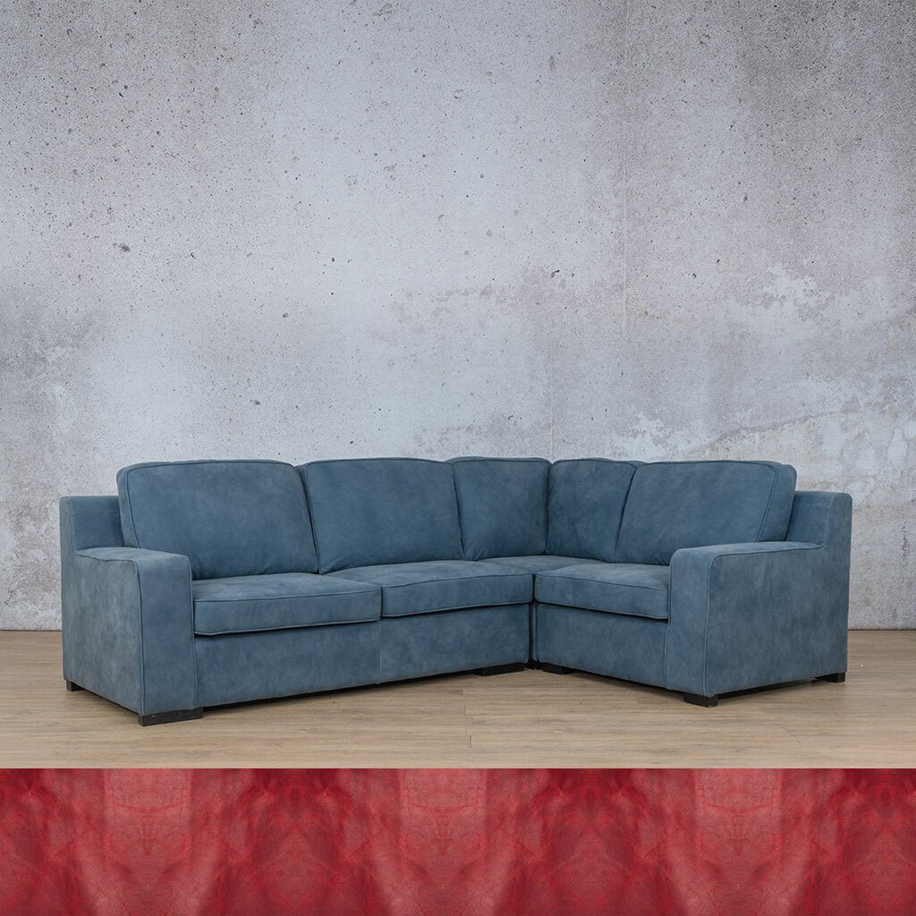 Arizona Leather Couch | L-Sectional 4 Seater RHF | Royal Ruby | Leather Gallery
