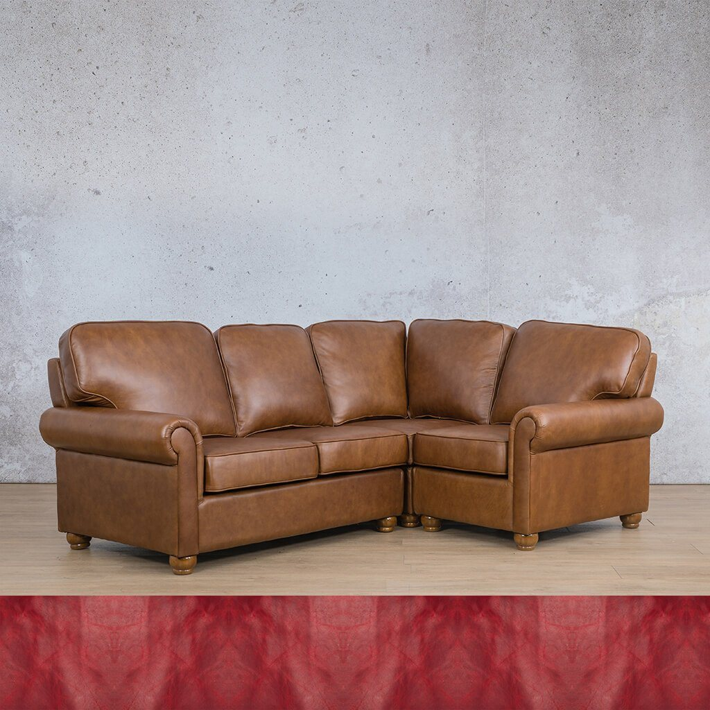 Salisbury Leather Corner Couch | L-Sectional 4 Seater-RHF | Royal Ruby | Couches For Sale | Leather Gallery Couches