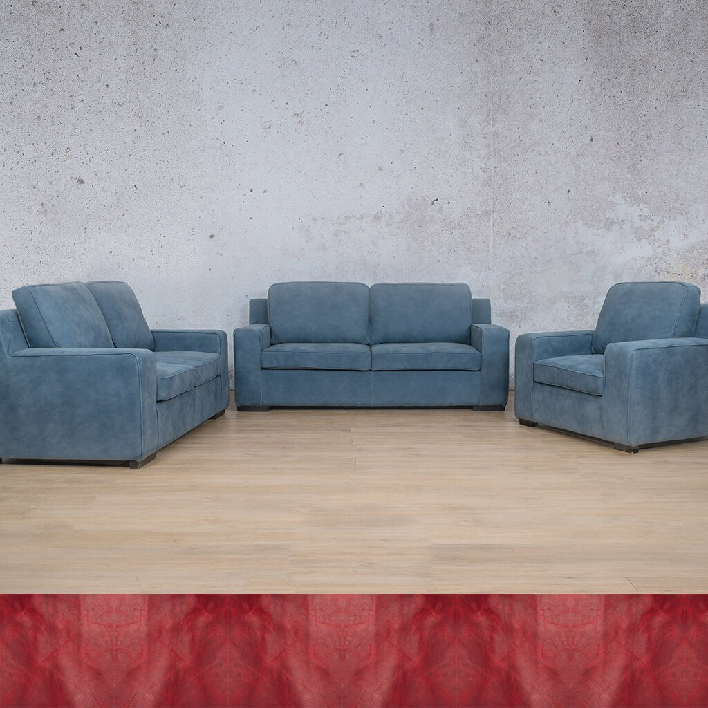 Arizona Leather Couch | 3+2+1 Suite | Royal Ruby | Leather Gallery