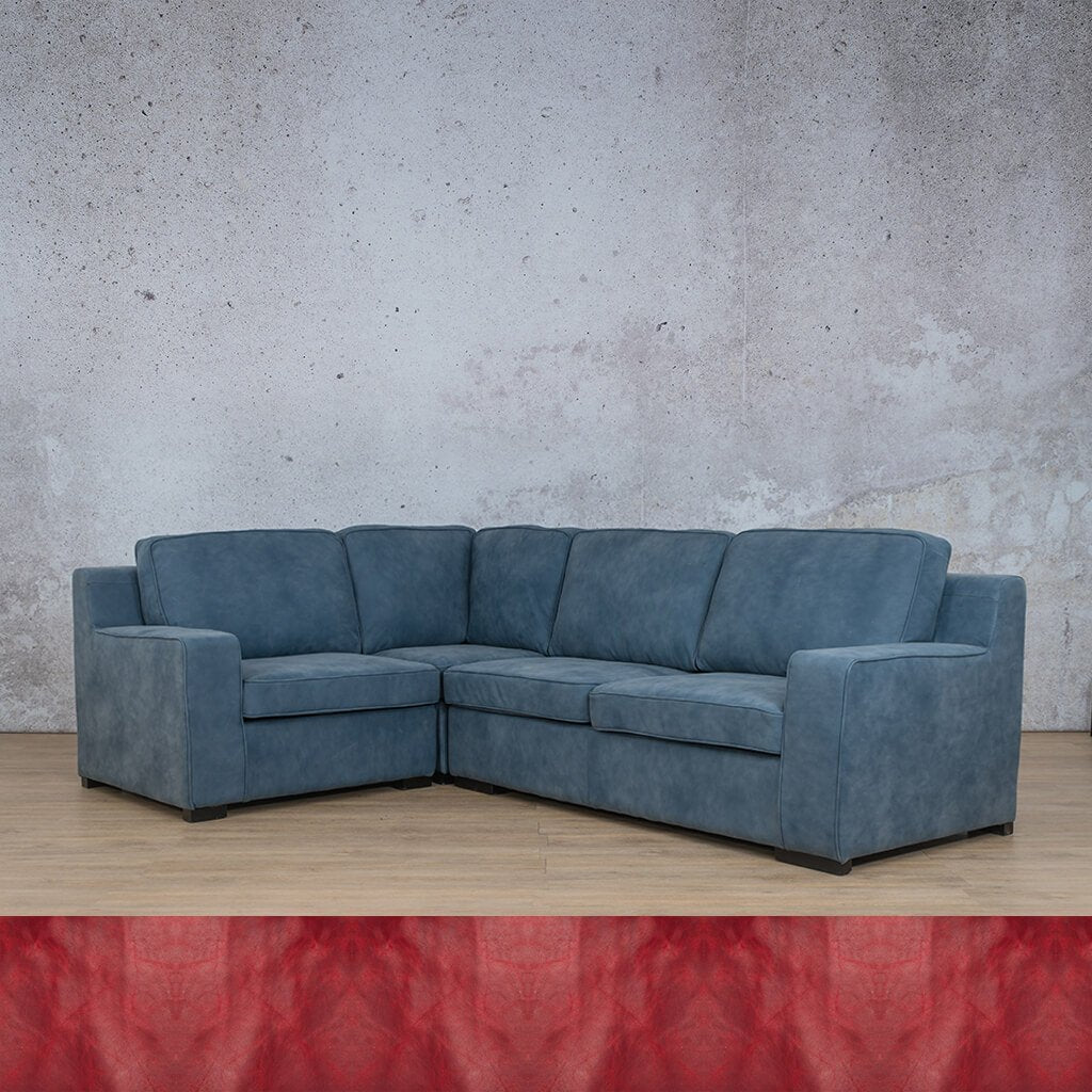 Arizona Leather Couch | L-Sectional 4 Seater | Royal Ruby | Leather Gallery