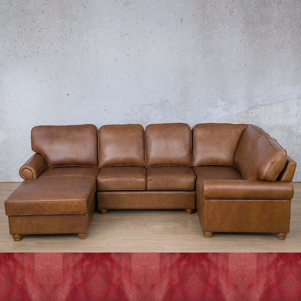 Salisbury Leather Corner Couch | U-Sofa Chaise Sectional LHF | Royal Ruby | Couches For Sale | Leather Gallery Couches