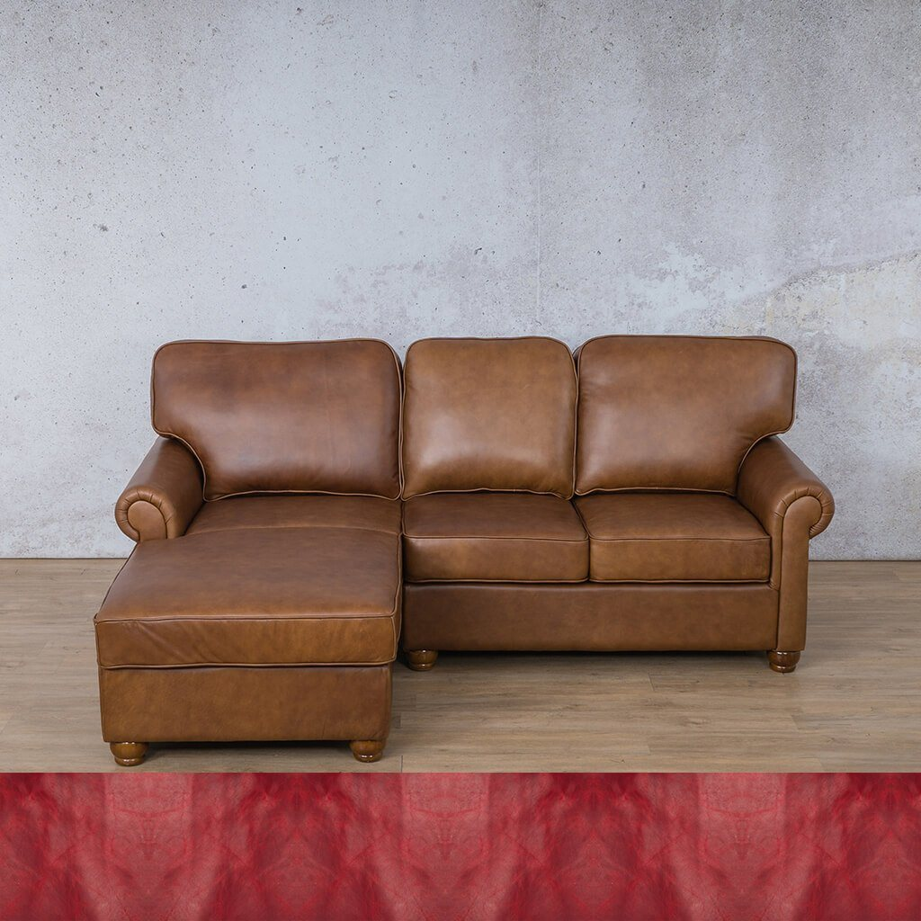 Salisbury Leather Corner Couch | Chaise Sectional-LHF | Royal Ruby | Couches For Sale | Leather Gallery Couches