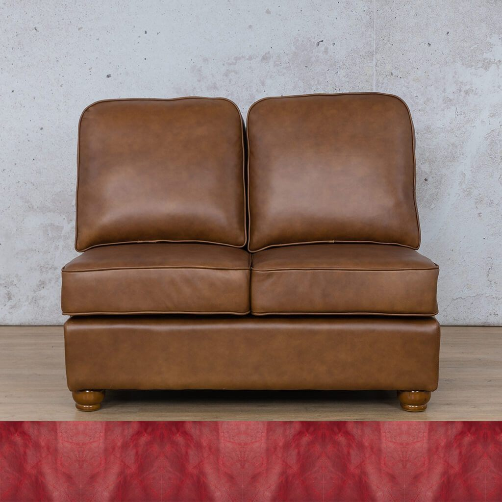 Salisbury Leather Corner Couch | Armless 2 Seater | Royal Ruby | Couches For Sale | Leather Gallery Couches