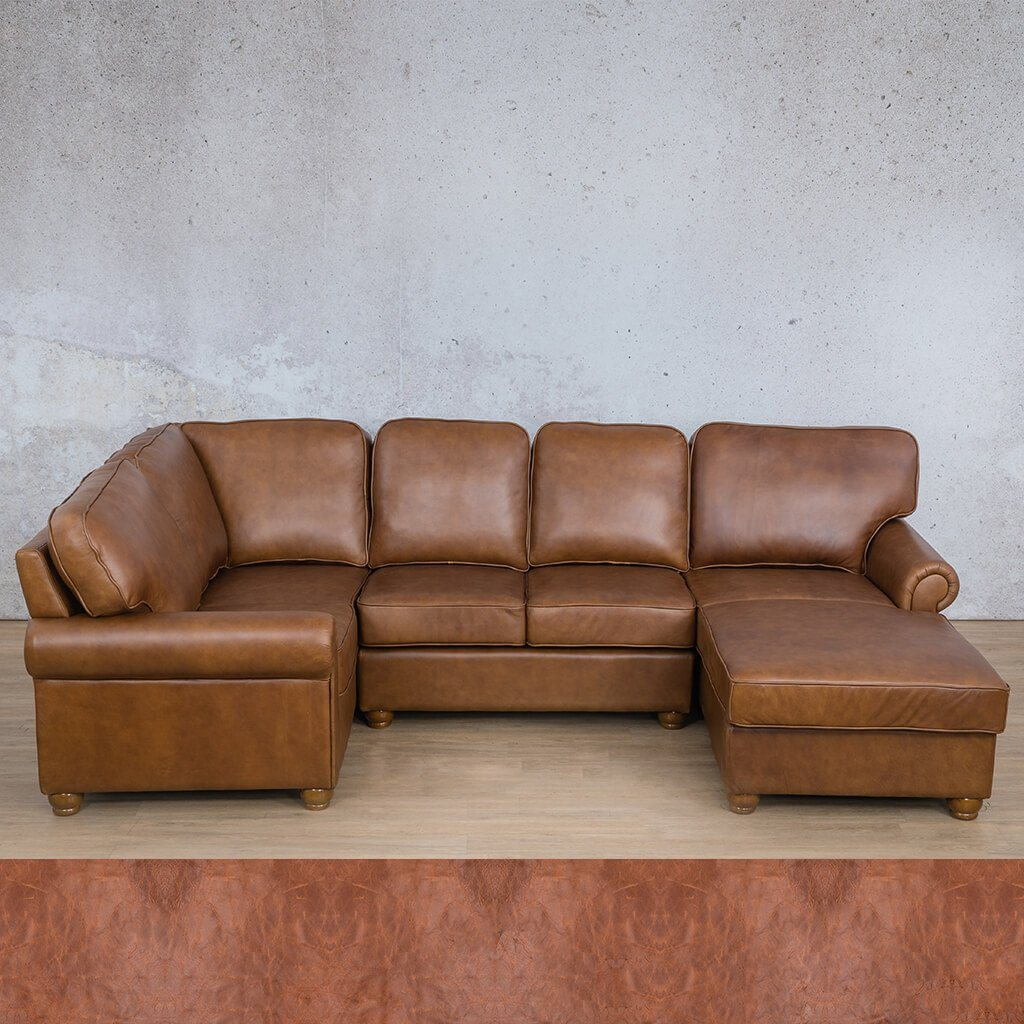 Salisbury Leather Corner Couch | U-Sofa Chaise Sectional RHF | Royal Saddle | Couches For Sale | Leather Gallery Couches