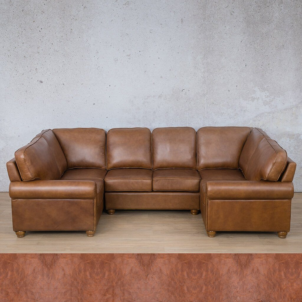Salisbury Leather Corner Couch | U-Sofa Sectional | Royal Saddle | Couches For Sale | Leather Gallery Couches