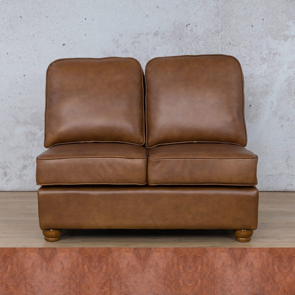 Salisbury Leather Corner Couch | Armless 2 Seater | Royal Saddle | Couches For Sale | Leather Gallery Couches