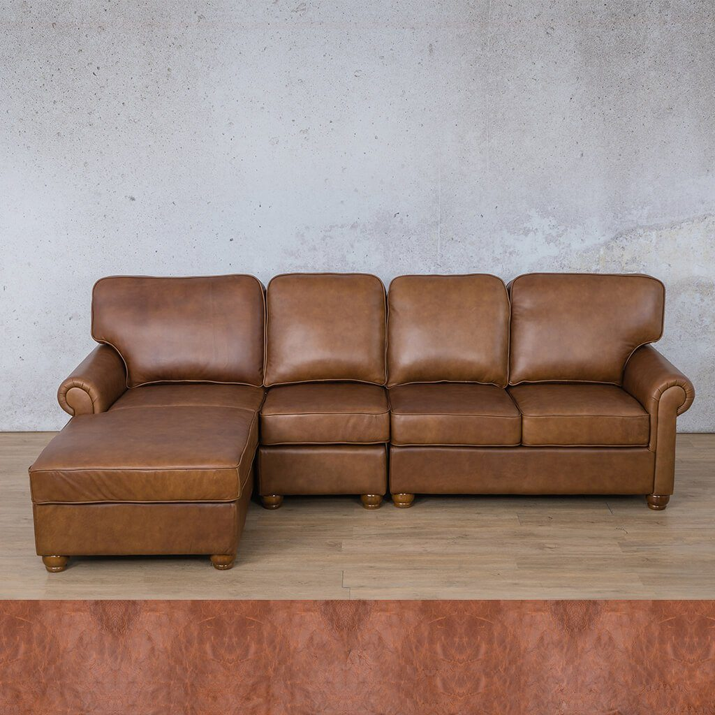 Salisbury Leather Corner Couch | Chaise Modular Sectional-LHF | Royal Saddle | Couches For Sale | Leather Gallery Couches
