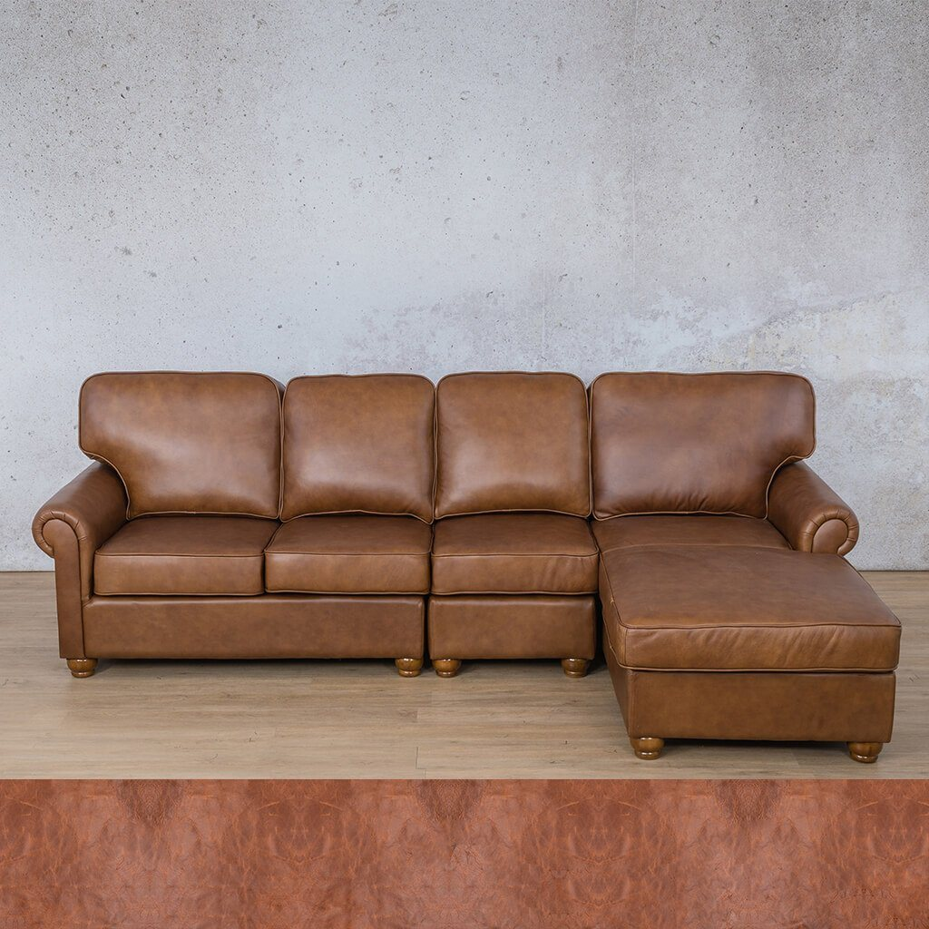 Salisbury Leather Corner Couch | Chaise Modular Sectional-RHF | Royal Saddle | Couches For Sale | Leather Gallery Couches