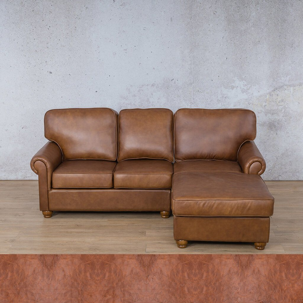 Salisbury Leather Corner Couch | Chaise Sectional-RHF | Royal Saddle | Couches For Sale | Leather Gallery Couches