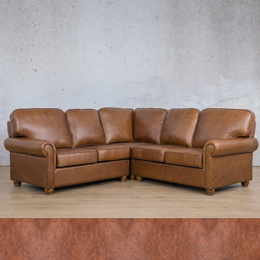Salisbury Leather Corner Couch | L-Sectional 5 Seater | Royal Saddle | Couches For Sale | Leather Gallery Couches