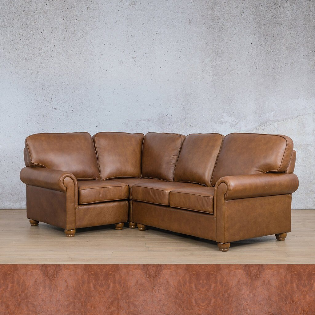 Salisbury Leather Corner Couch | L-Sectional 4 Seater-LHF | Royal Saddle | Couches For Sale | Leather Gallery Couches