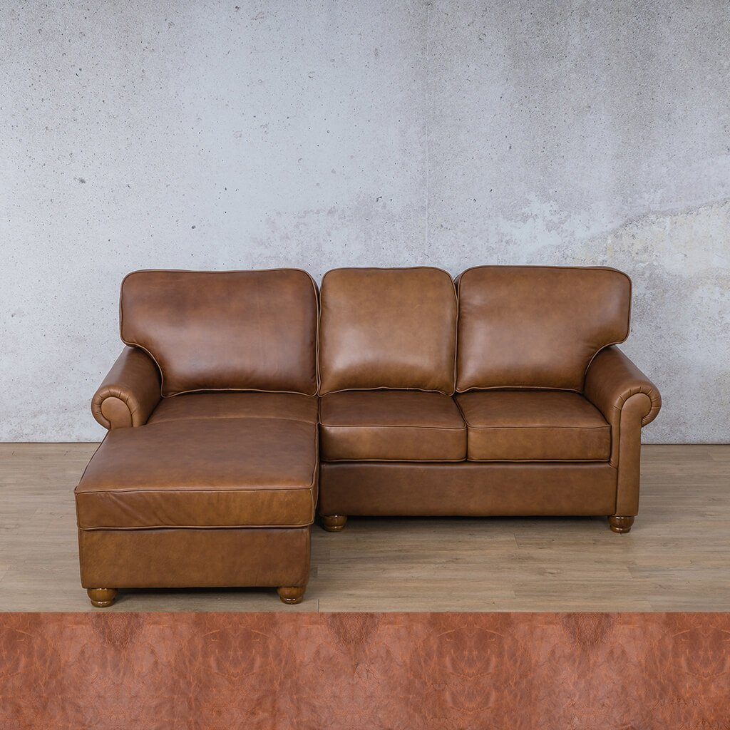 Salisbury Leather Corner Couch | Chaise Sectional-LHF | Royal Saddle | Couches For Sale | Leather Gallery Couches