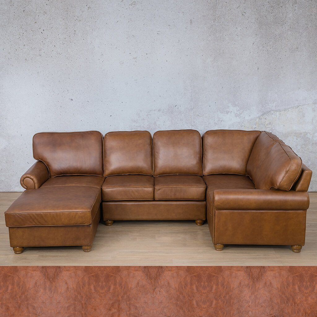 Salisbury Leather Corner Couch | U-Sofa Chaise Sectional LHF | Royal Saddle | Couches For Sale | Leather Gallery Couches