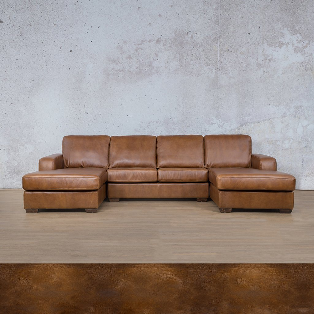 Starnford Leather Corner Couch | U-Chase Couch | Royal Walnut | Couches For Sale | Leather Gallery Couches