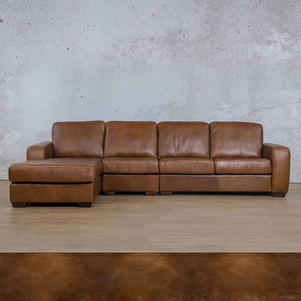 Starnford Leather Corner Couch | Modular Sofa Chaise-LHF | Royal Walnut | Couches For Sale | Leather Gallery Couches