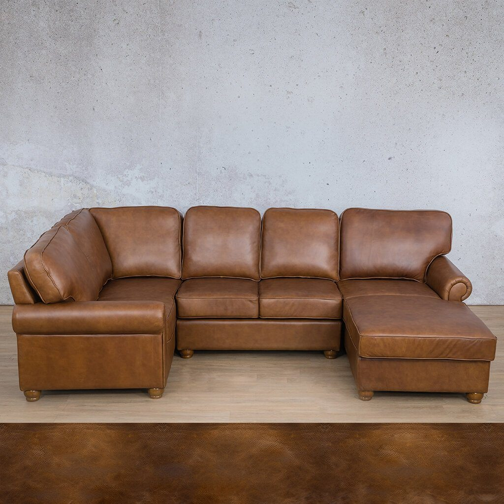 Salisbury Leather Corner Couch | U-Sofa Chaise Sectional RHF | Royal Walnut | Couches For Sale | Leather Gallery Couches