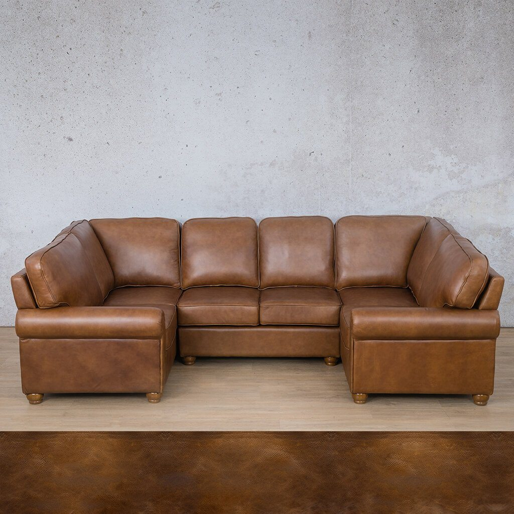 Salisbury Leather Corner Couch | U-Sofa Sectional | Royal Walnut | Couches For Sale | Leather Gallery Couches