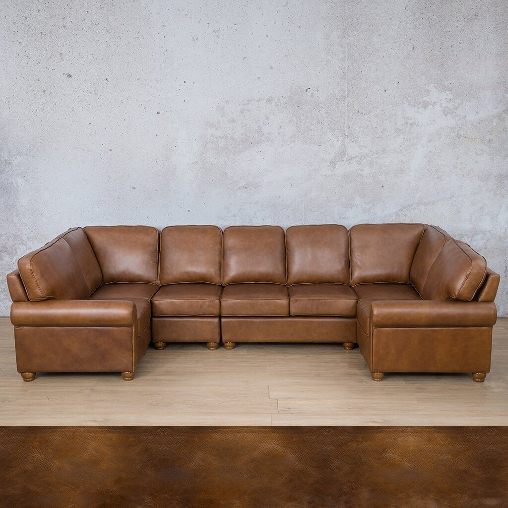 Salisbury Leather Corner Couch | Modular U-Sofa Sectional | Royal Walnut | Couches For Sale | Leather Gallery Couches