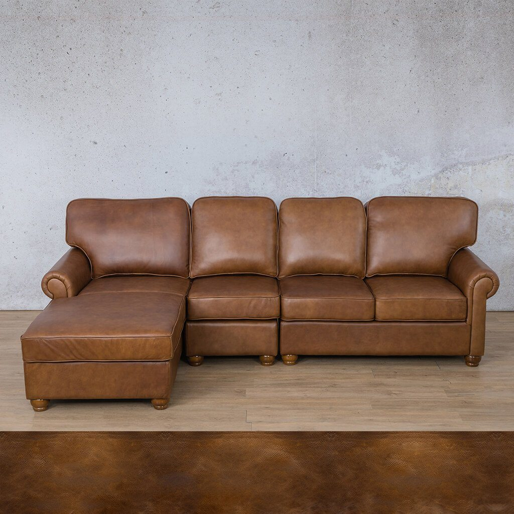 Salisbury Leather Corner Couch | Chaise Modular Sectional-LHF | Royal Walnut | Couches For Sale | Leather Gallery Couches