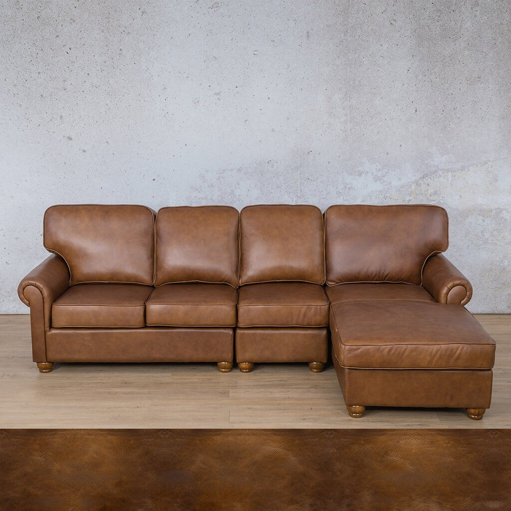 Salisbury Leather Corner Couch | Chaise Modular Sectional-RHF | Royal Walnut | Couches For Sale | Leather Gallery Couches