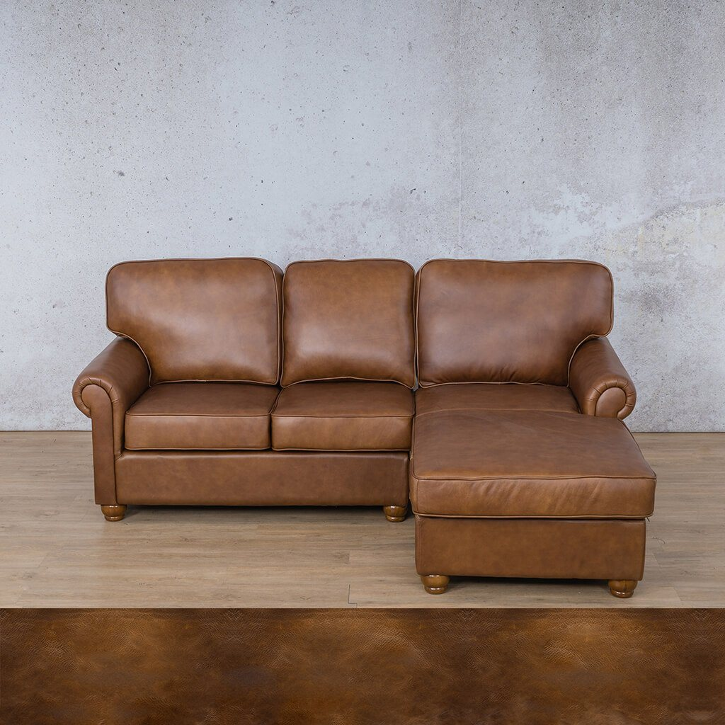 Salisbury Leather Corner Couch | Chaise Sectional-RHF | Royal Walnut | Couches For Sale | Leather Gallery Couches