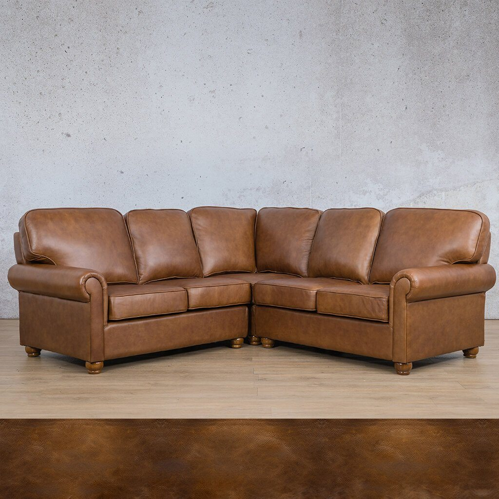 Salisbury Leather Corner Couch | L-Sectional 5 Seater | Royal Walnut | Couches For Sale | Leather Gallery Couches