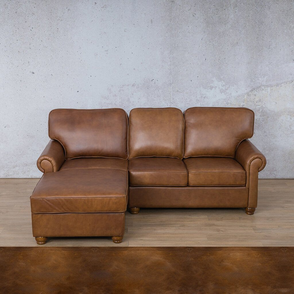 Salisbury Leather Corner Couch | Chaise Sectional-LHF | Royal Walnut | Couches For Sale | Leather Gallery Couches
