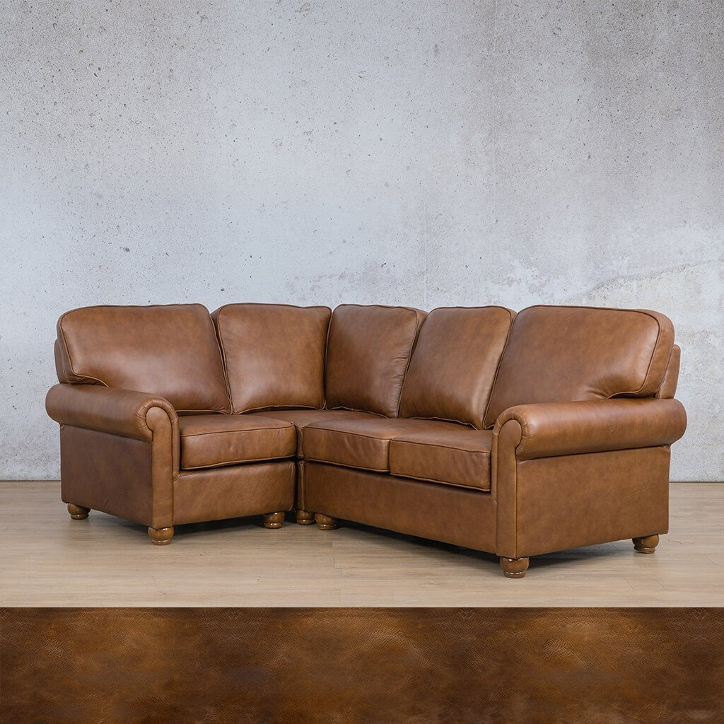 Salisbury Leather Corner Couch | L-Sectional 4 Seater-LHF | Royal Walnut | Couches For Sale | Leather Gallery Couches