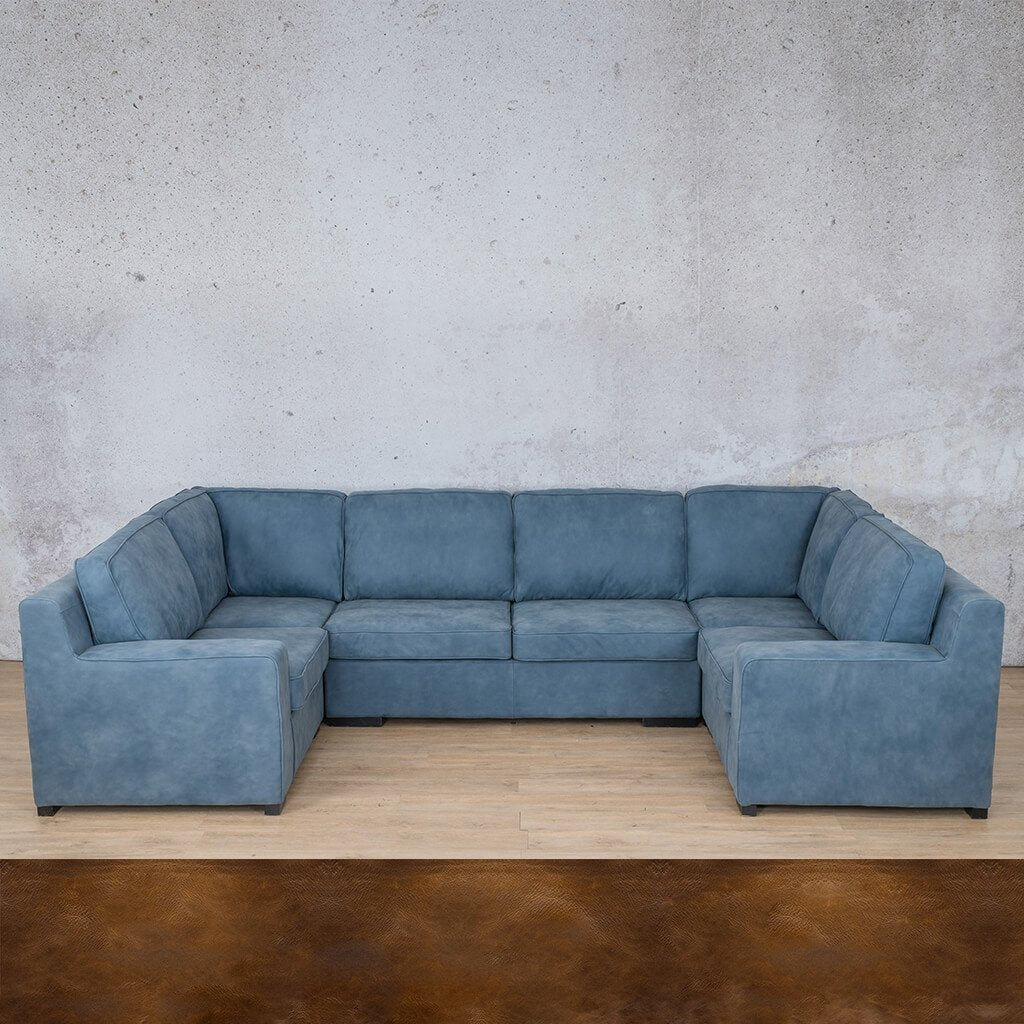Arizona Leather Corner Couch | U-Sofa Sectional | Royal Walnut-A | Couches For Sale | Leather Gallery Couches