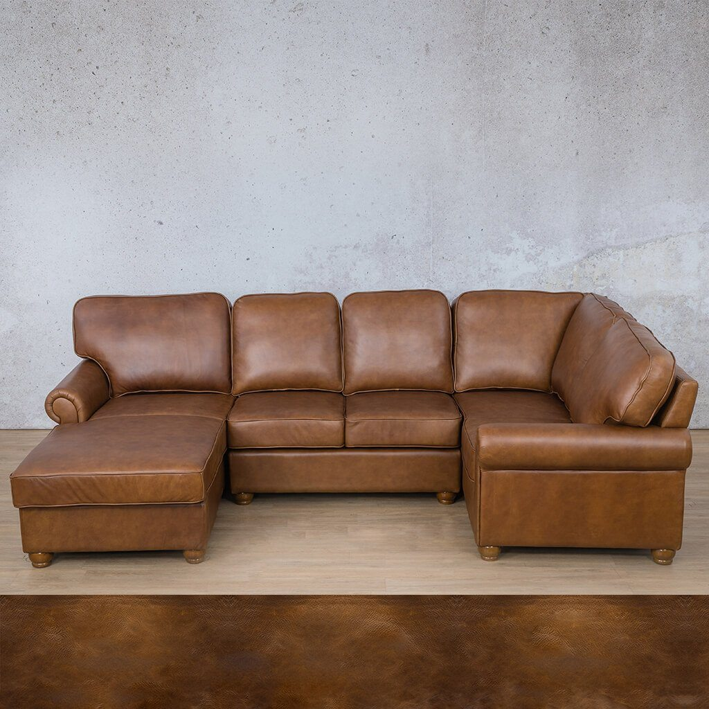 Salisbury Leather Corner Couch | U-Sofa Chaise Sectional LHF | Royal Walnut | Couches For Sale | Leather Gallery Couches