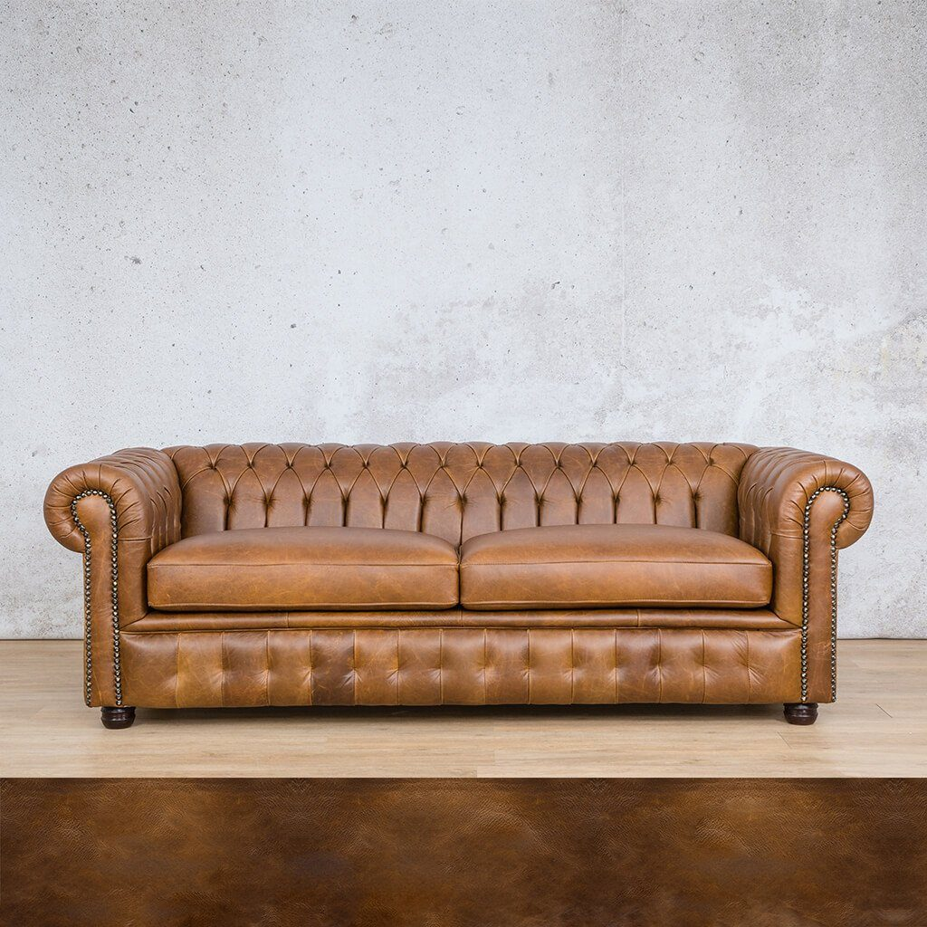 Chesterfield Leather Couch | 3 seater couch | Royal Walnut | Couches for Sale | Leather Gallery Couches
