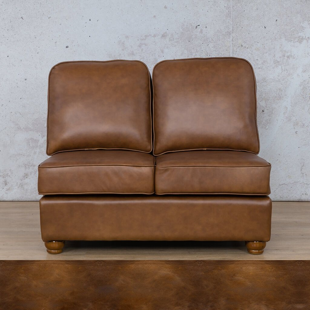 Salisbury Leather Corner Couch | Armless 2 Seater | Royal Walnut | Couches For Sale | Leather Gallery Couches