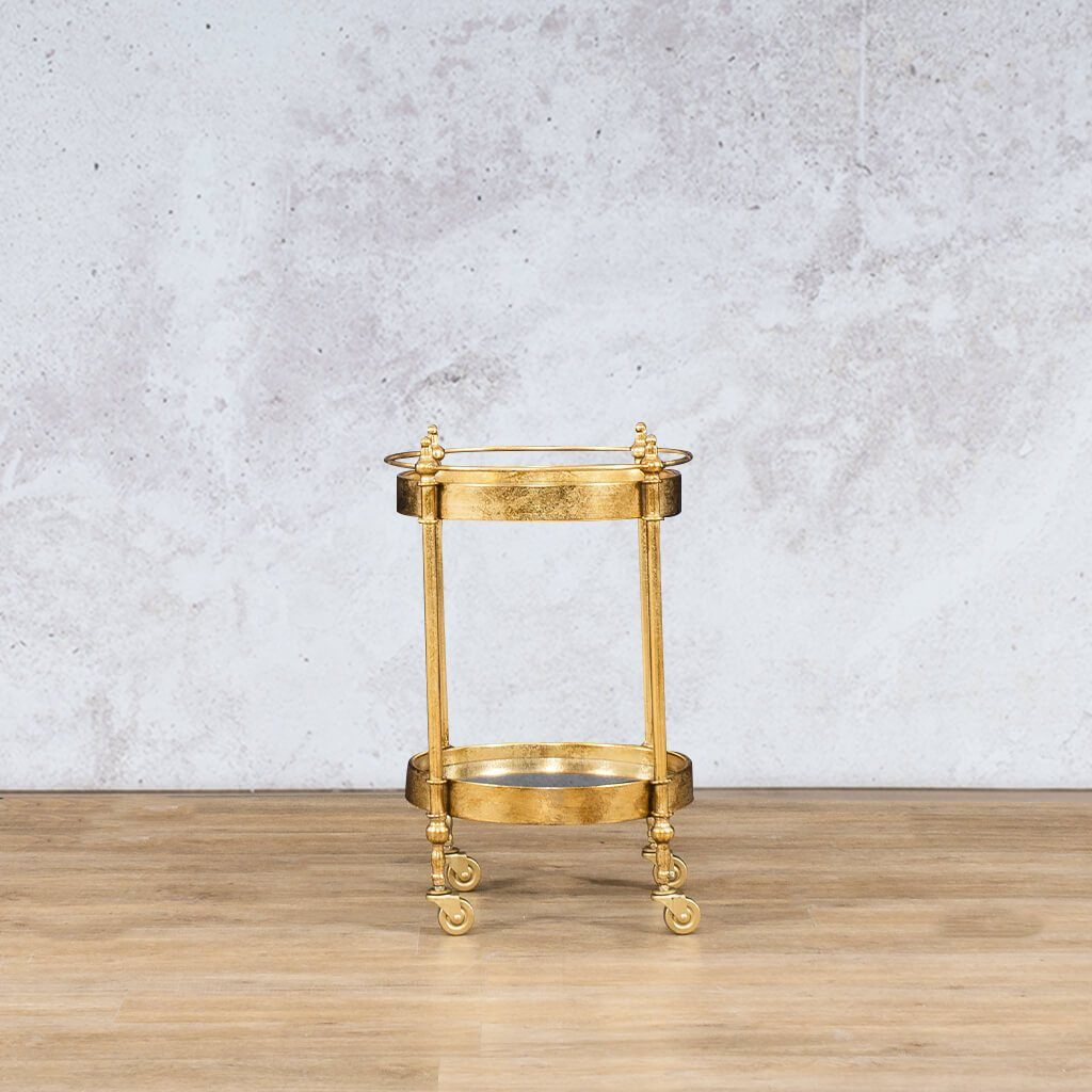 Sundowner Gold Trolley | Side Table | Gold | Leather Gallery