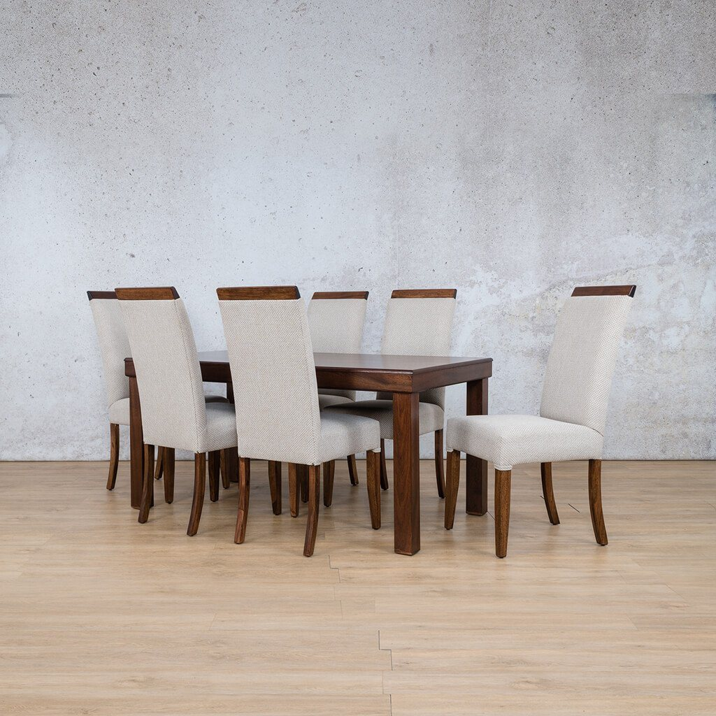 Urban Dining Set | 6 Seater Dining Set | Angled Length View | Dining sets for Sale | Wood | Leather Gallery Dining Sets