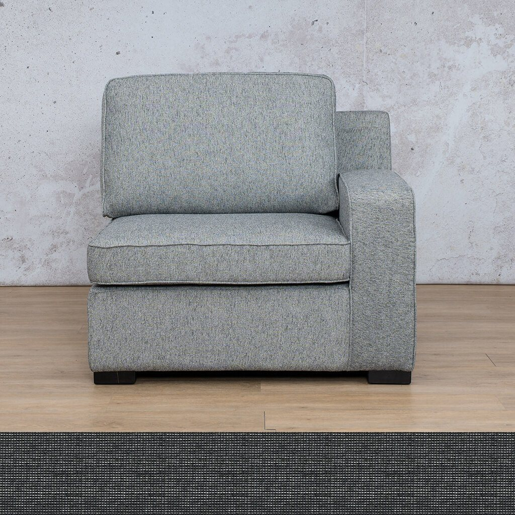 Arizona Fabric | 1 Seater Left Arm | Volcanic Charcoal | Leather Gallery
